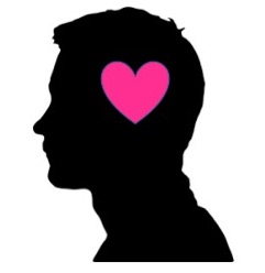male silhouette containing a pink heart
