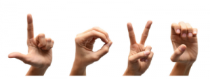 sign language hands spelling the word love