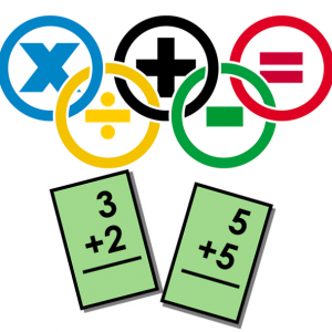 Two math flash cards and the symbols for addition subtraction multiplication and division